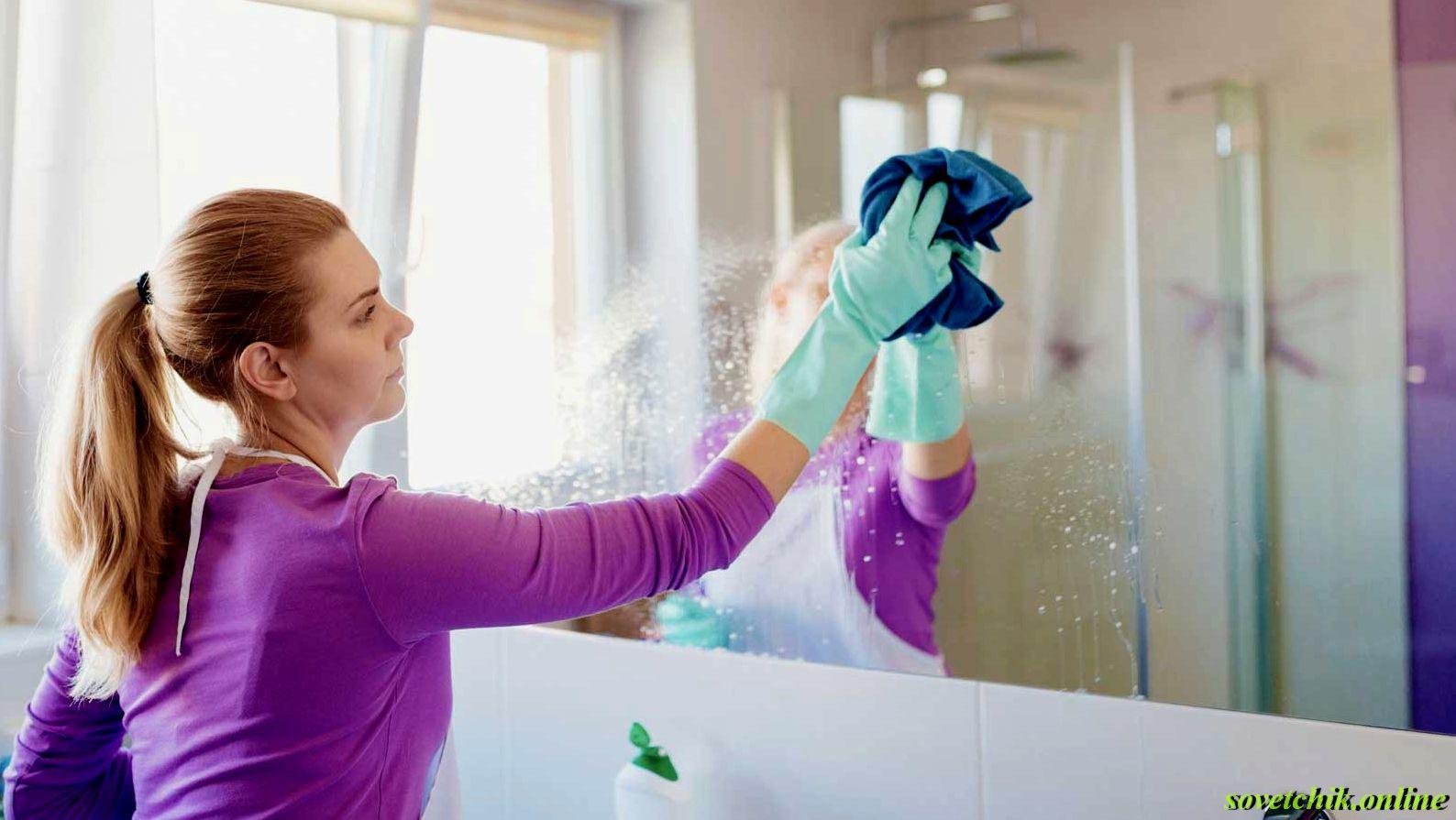 Как убрать налёт с зеркала в ванной